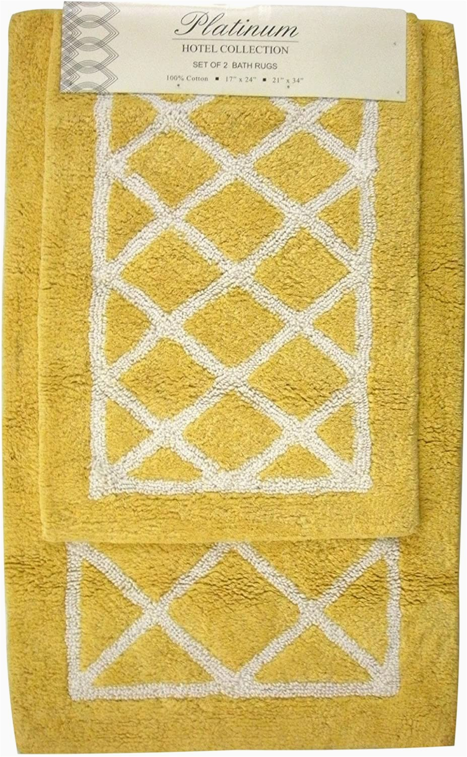 Yellow and White Bath Rug Amazon Yellow and White Lattice Bath Rug Set Kitchen