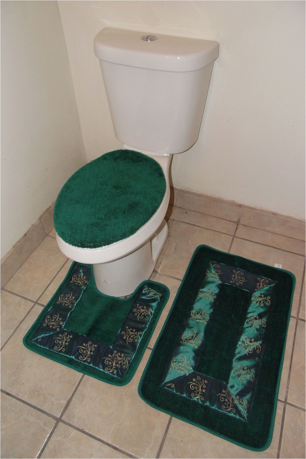 Bathroom Mats and Rugs Sets Bathmats Rugs and toilet Covers 3pc 5 Hunter Green