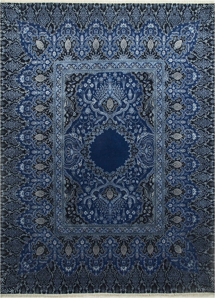 Blue Hand Knotted Wool Rug Qm 401 Medium Cobalt Me Val Blue