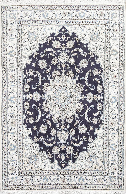 navy blue floral nain persian area rug 6x8