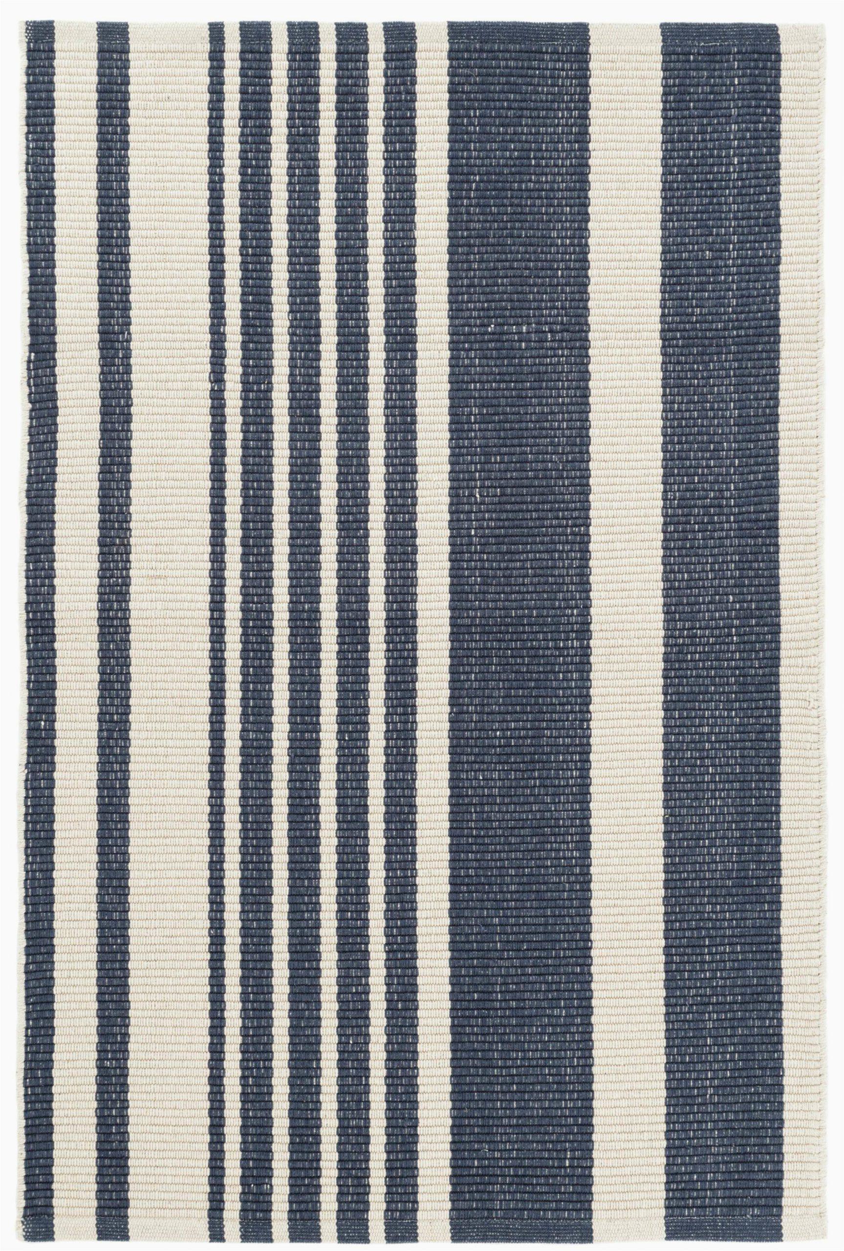 Blue Stripe Cotton Rug Portland Striped Handmade Flatweave Cotton Dark Blue area Rug