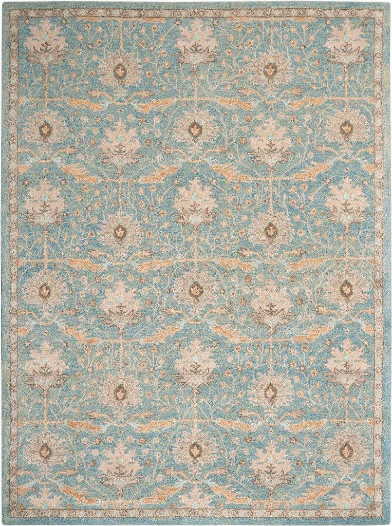 jazmine 9 x 12 light blue and beige persian area rug nourison jaz02