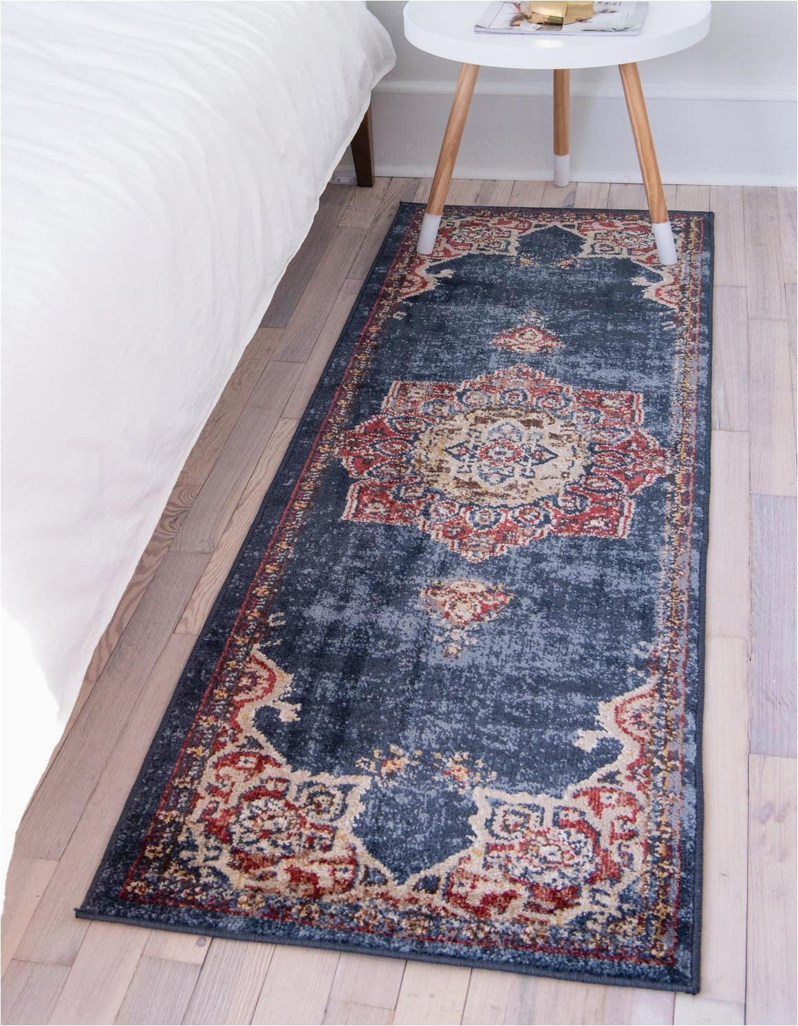 dark blue 6 ft runner arcadia area rug