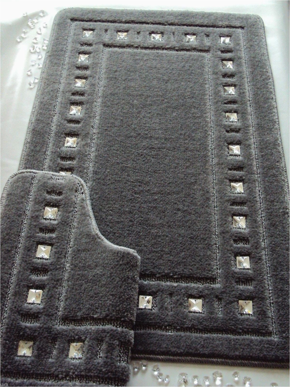 Dark Grey Bathroom Rug Set Bath Mat Set Diamante Silver Grey