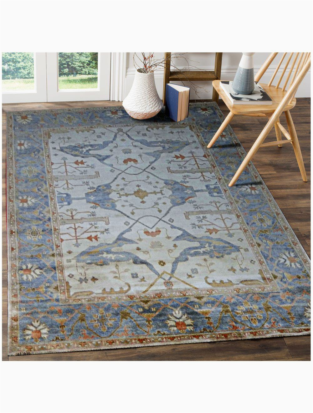 aldo persian traditional floral blue hand knotted wool rug 4 x 6
