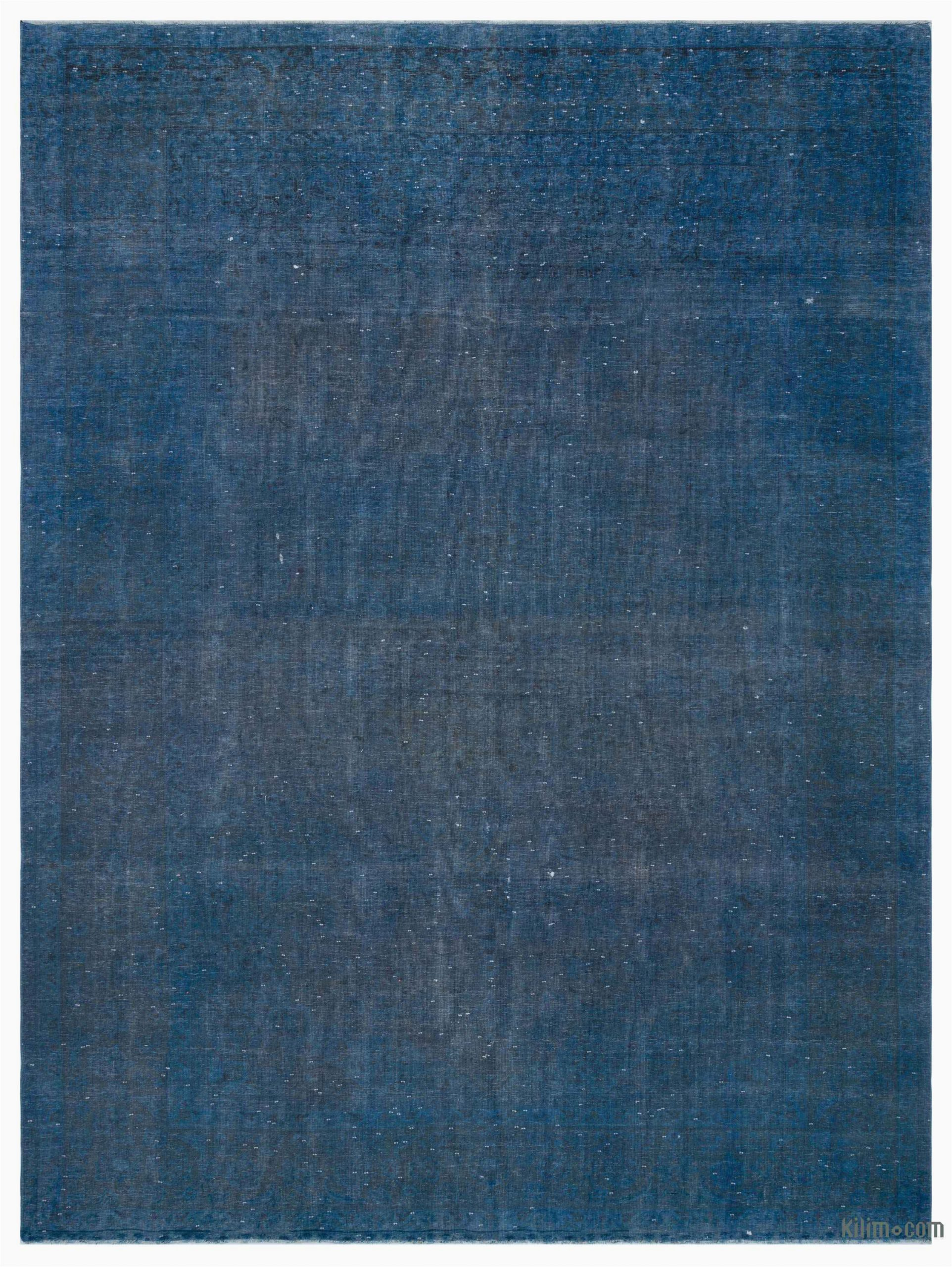 "Hand Knotted Blue Rugs Blue Over Dyed Vintage Hand Knotted oriental Rug 9 7"" X 12 9"" 115 In X 153 In"