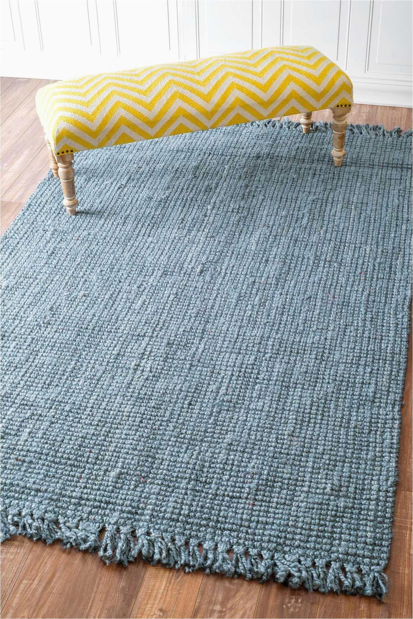 5 x 7 6 machine woven chunky loop jute blue rug