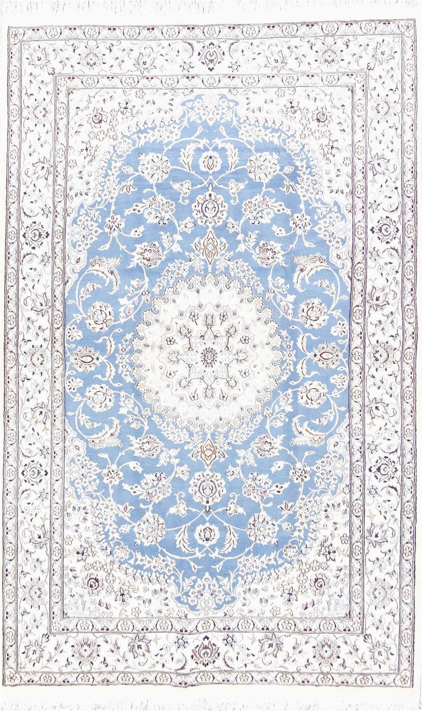 floral medallion light blue 5x8 nain persian area rug