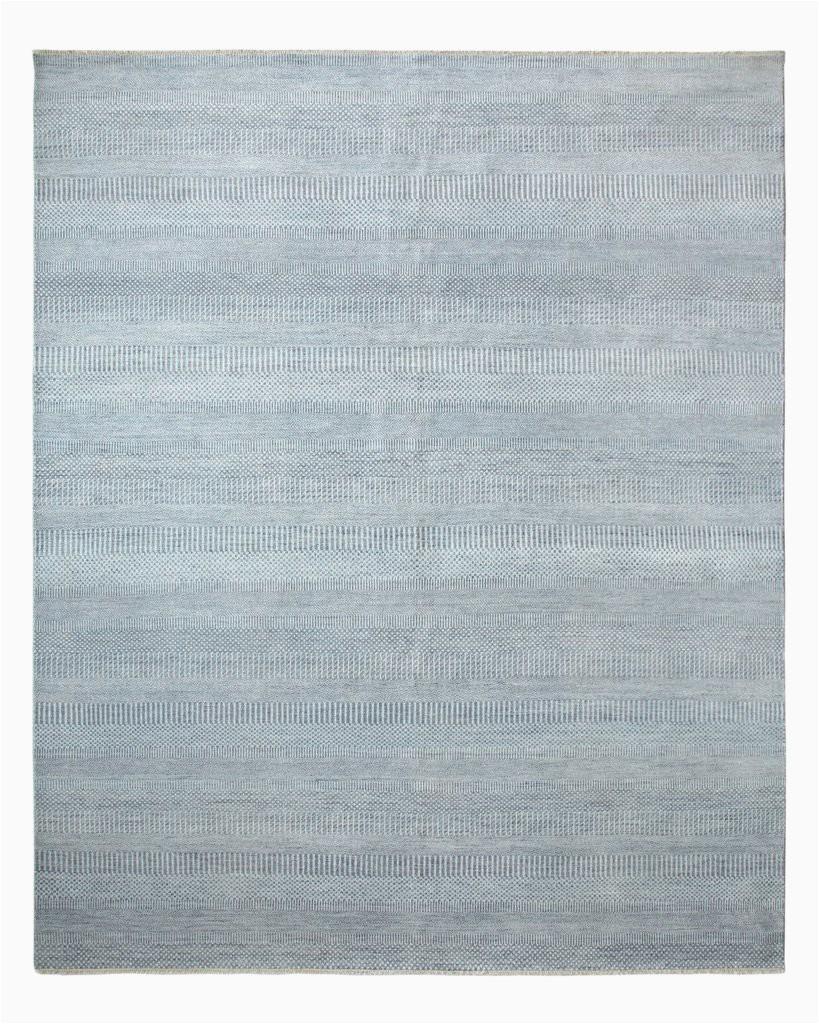 "Light Blue Wool Rug solid Handmade area Rug8 1"" X 9 11"""