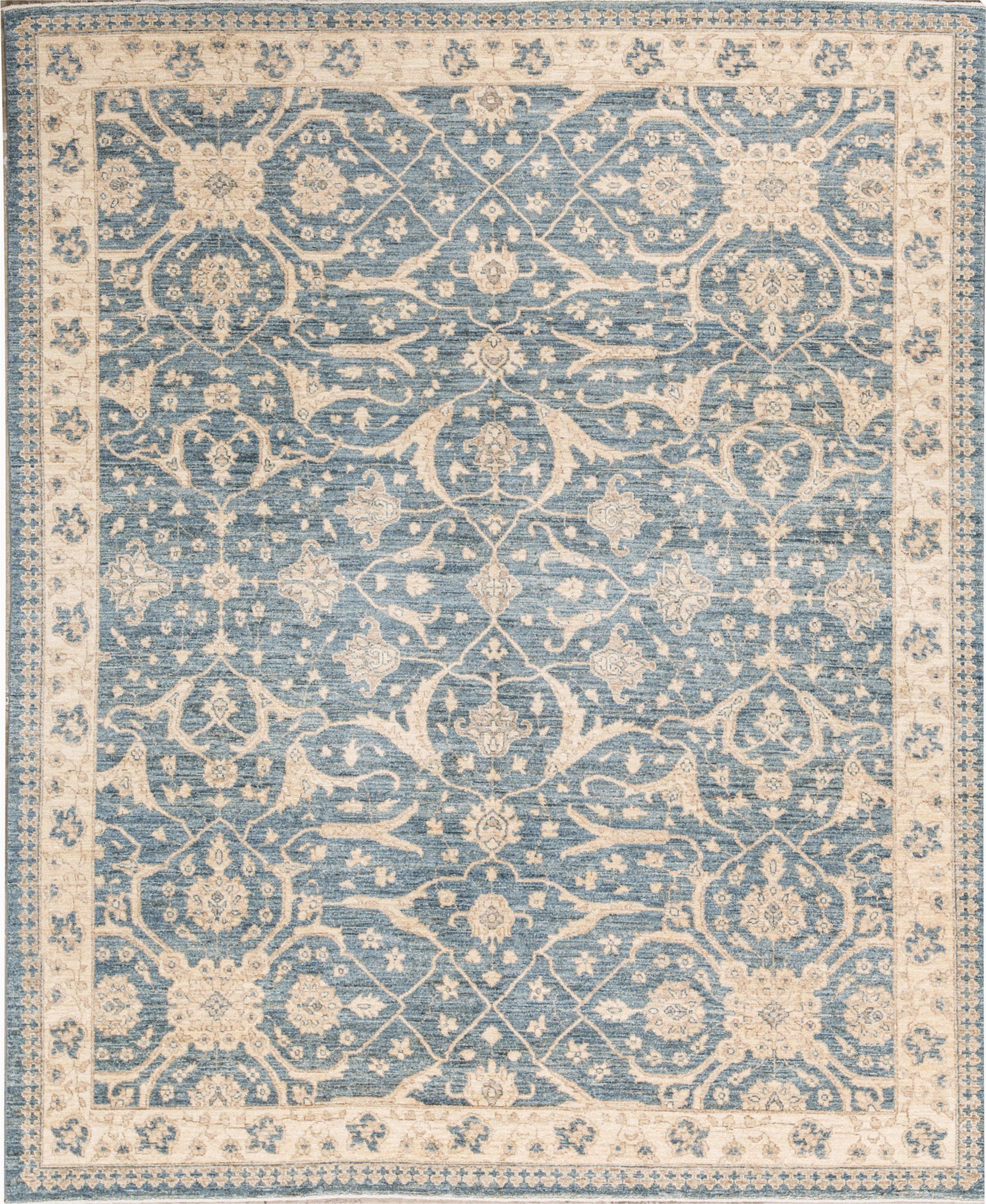 sultanabad oriental hand knotted wool light bluecream area rug
