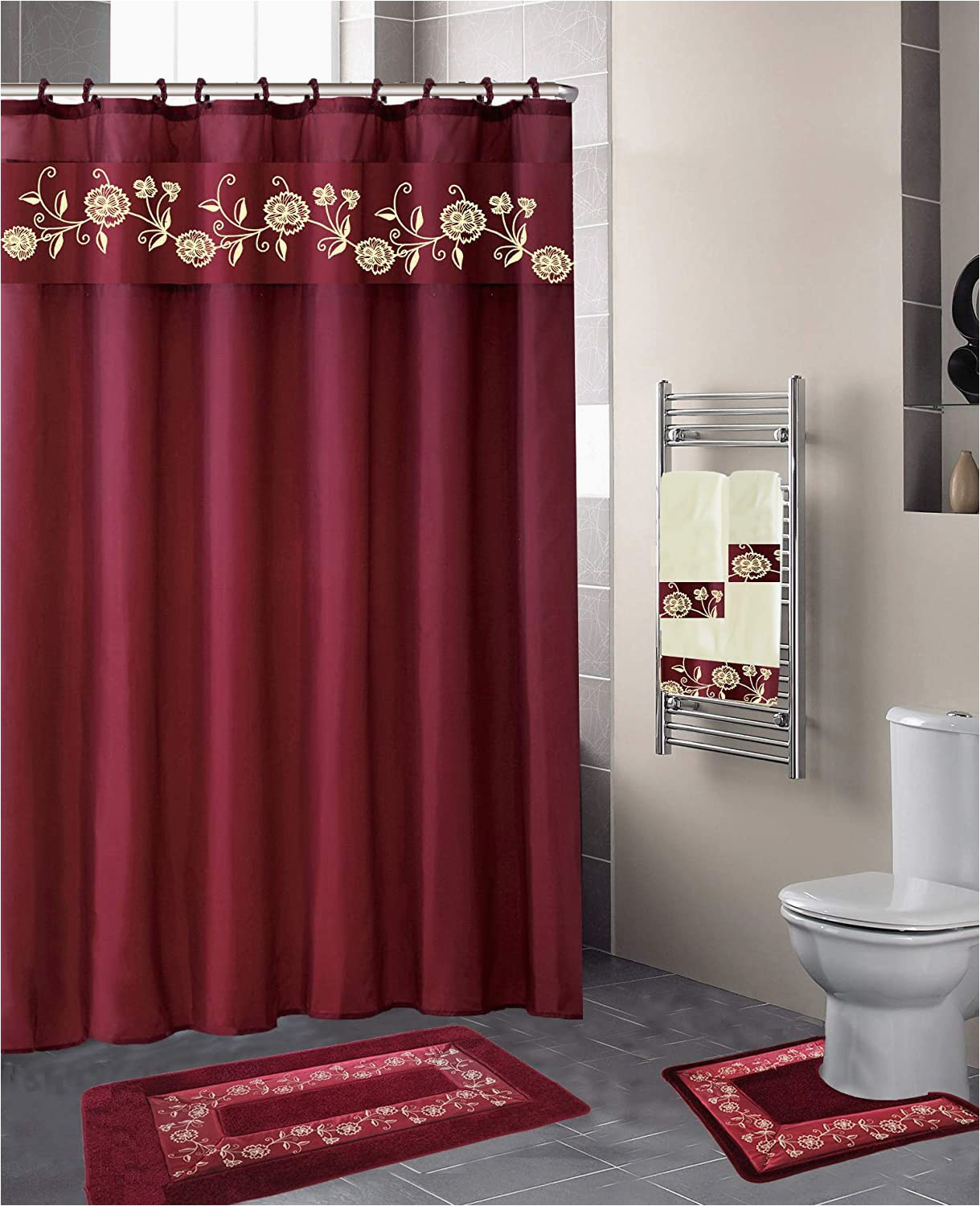 Luxury Bathroom Rug Sets Luxury Home Collection 18 Pc Bath Rug Set Embroidery Non Slip Bathroom Rug Mats and Rug Contour and Shower Curtain and towels and Rings Hooks and