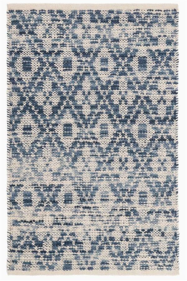 ombre diamond blue woven cotton rug