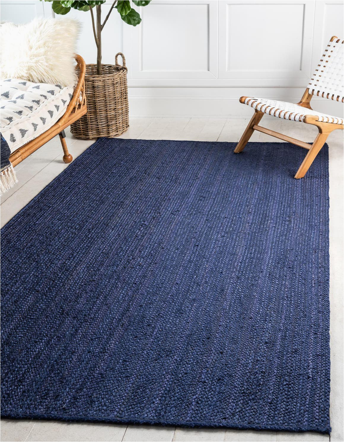 navy blue 5x8 braided jute area rug
