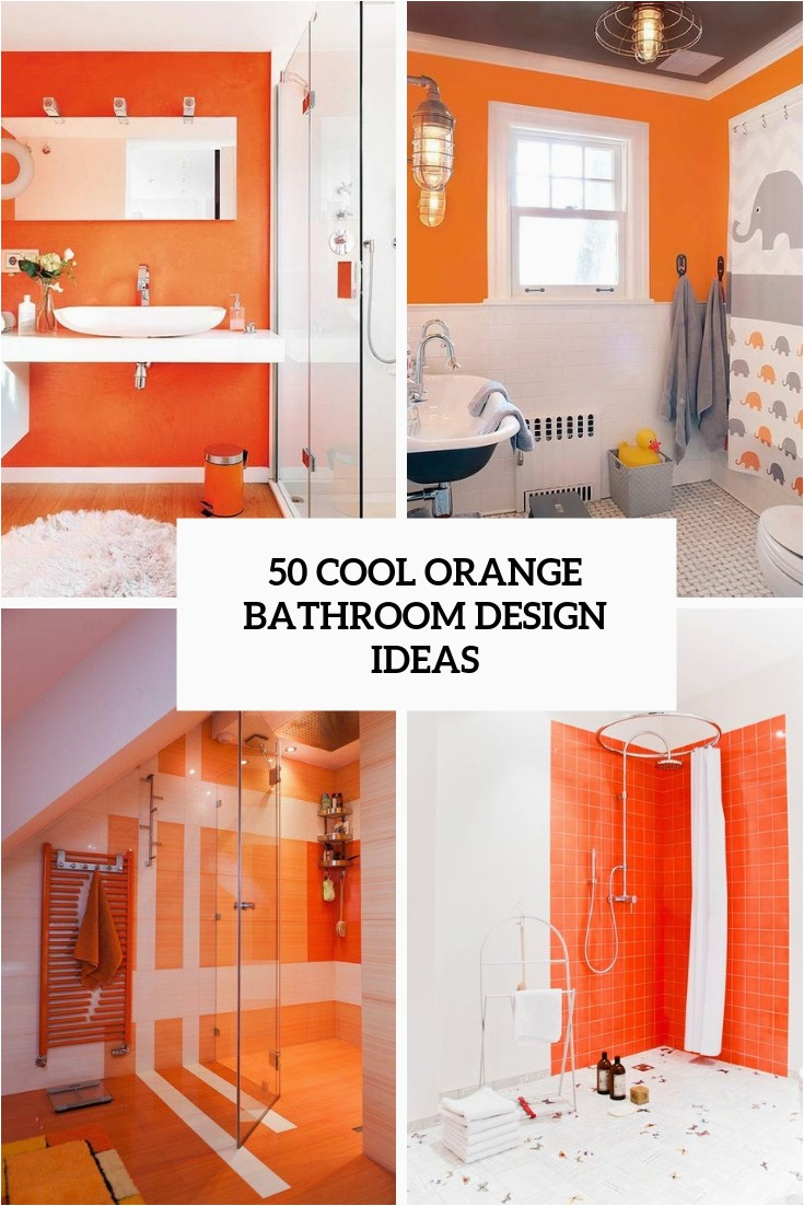 50 cool orange bathroom design ideas cover