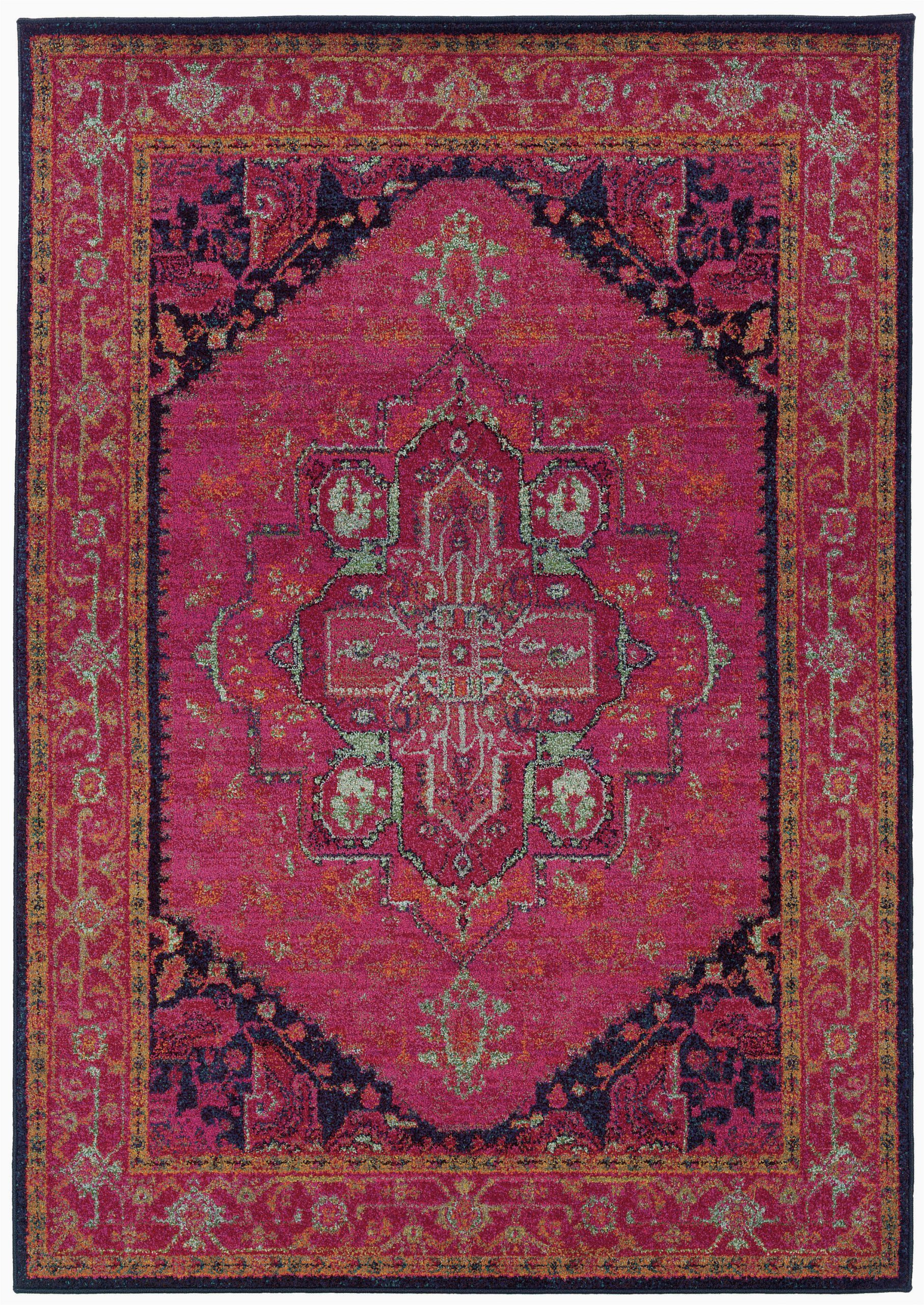 kaleidoscope oriental pinkblackblue area rug