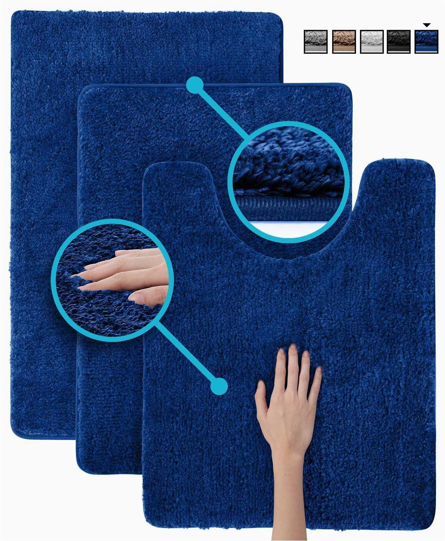 luxe rug dark blue plush bathroom rugs set bath shower mat w non slip microfiber super absorbent rug alfombras para banos 3 dark blue