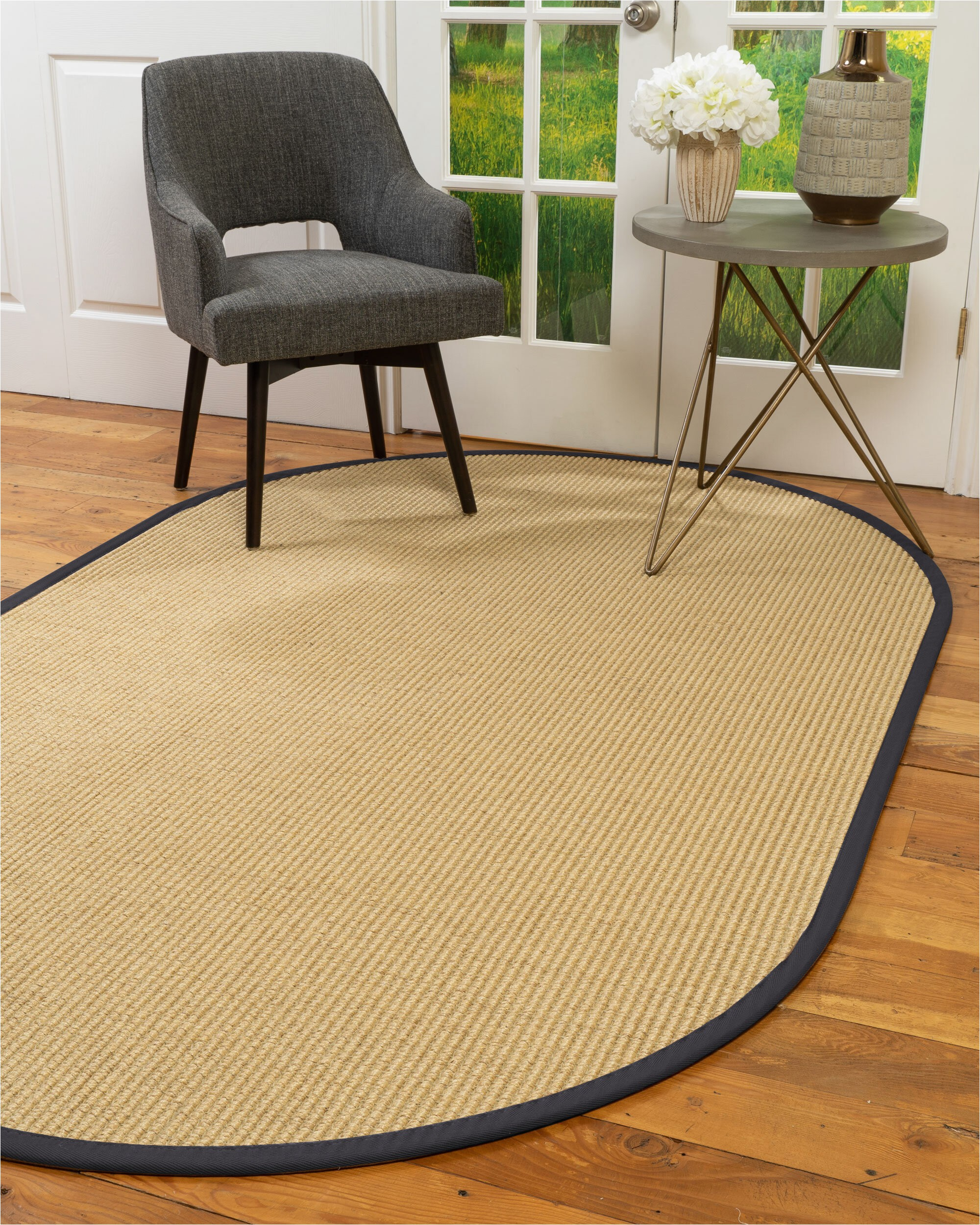 Sisal Rug with Blue Border Natural area Rugs Natural Fibre Handmade Lucca 5 Octagon Beige Sisal Rug Midnight Blue Border