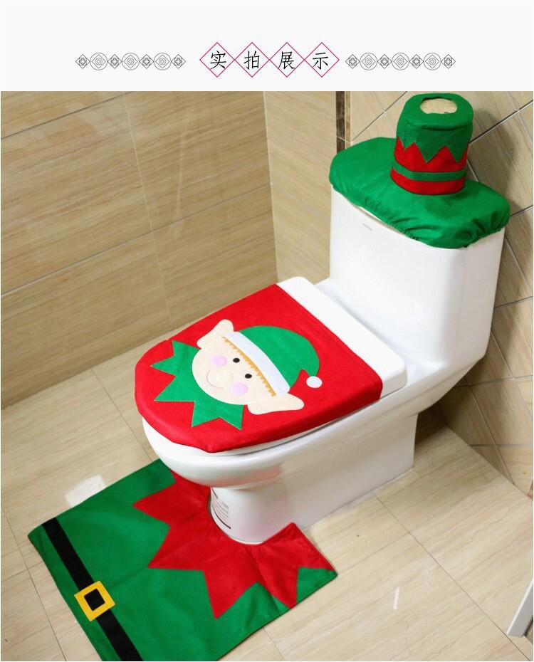 3pcs set Christmas Bear Toilet Seat Cover and Rug Bathroom Set Contour Rug Xmas Home Decorations