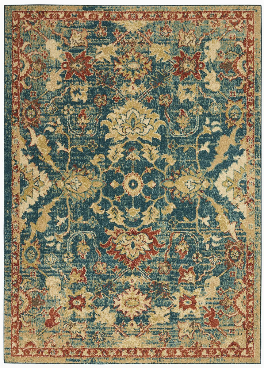 nourison traditional antique trq02 teal blue area rugx