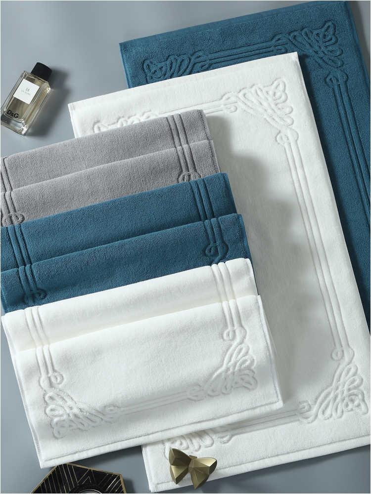 Hotel Cotton Bath Mat Luxury Home Bathroom Rugs and Carpets Jacquard Feet Towel Thick Anti slip q50