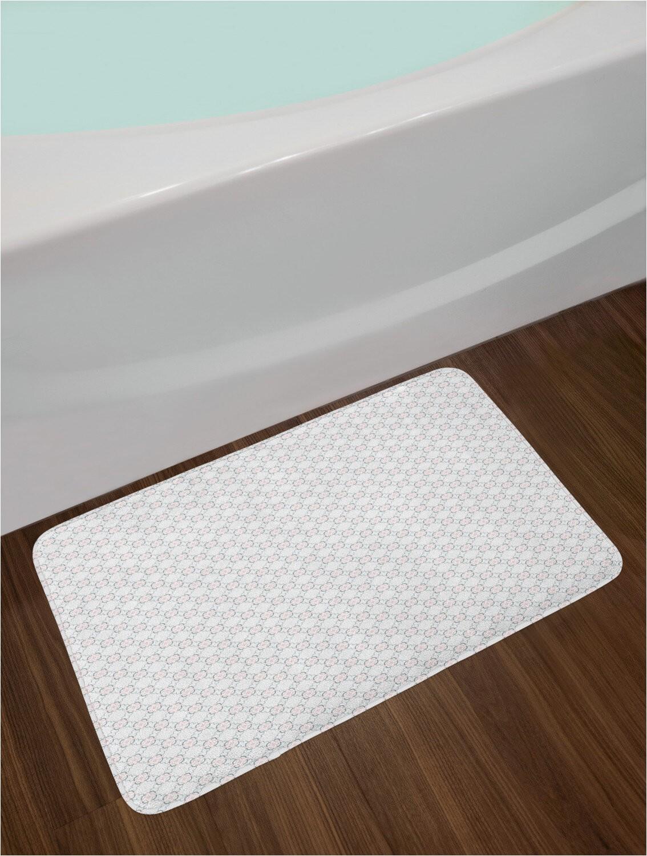 rhythmic thin lines floral inspired illustration bath rug