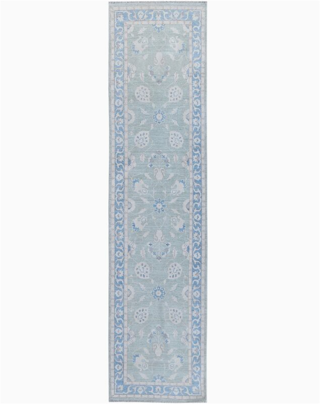 wildon home one of a kind hand knotted 2010s oushak bluegray 28 x 98 runner wool area rug cst