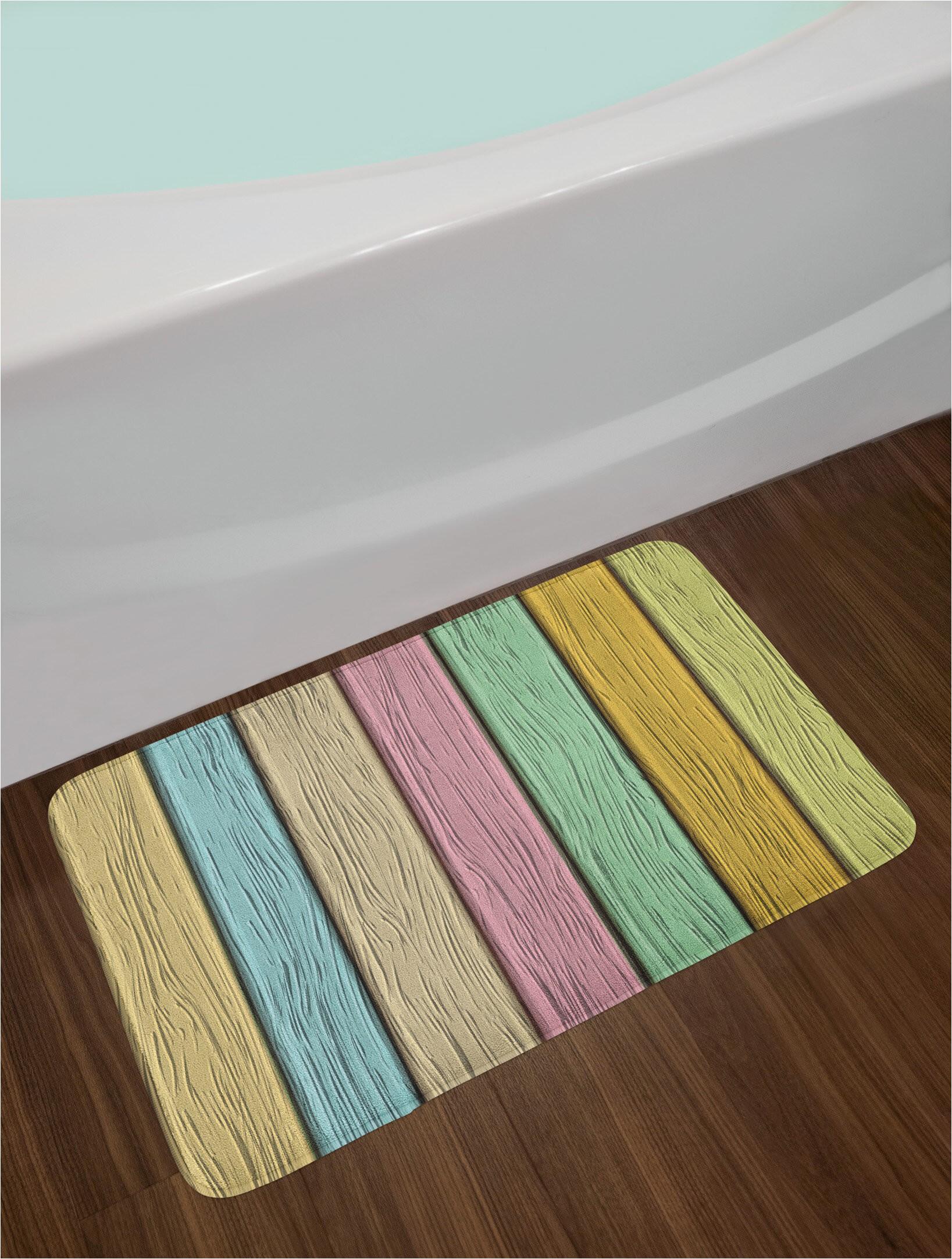 pastel colorful bath rug