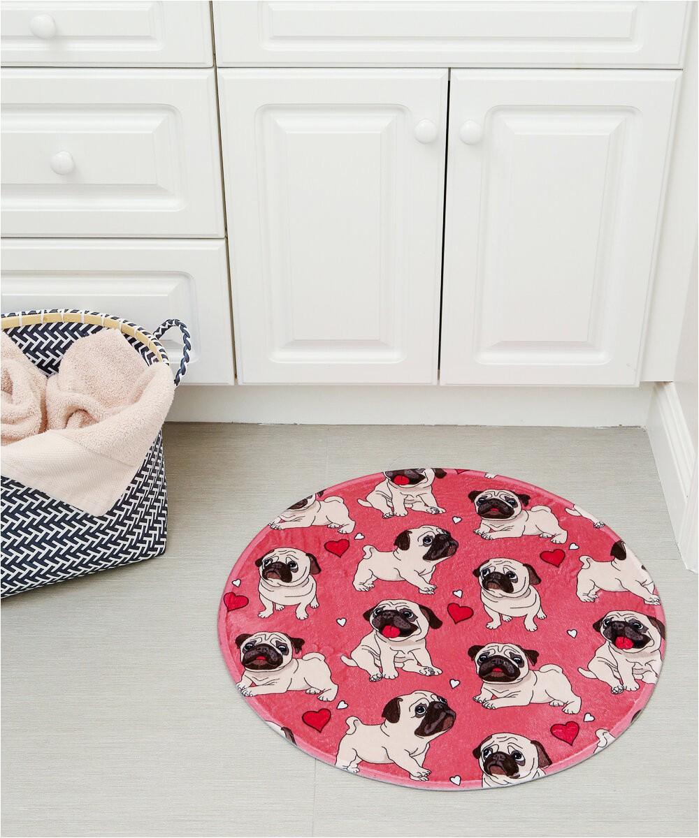 giusto pug expressions round circle non slip bath rug
