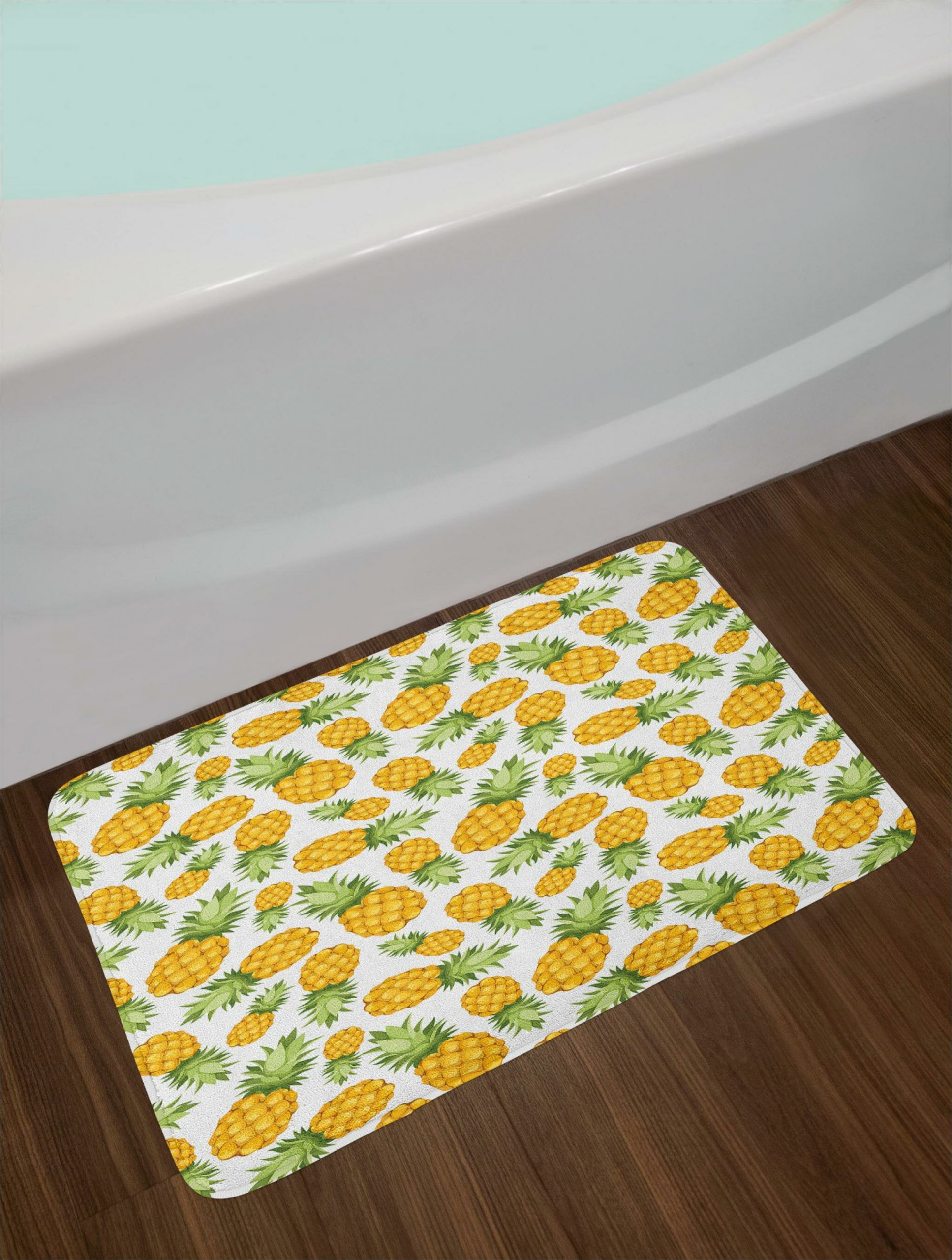 pineapples yellow and white bath rug
