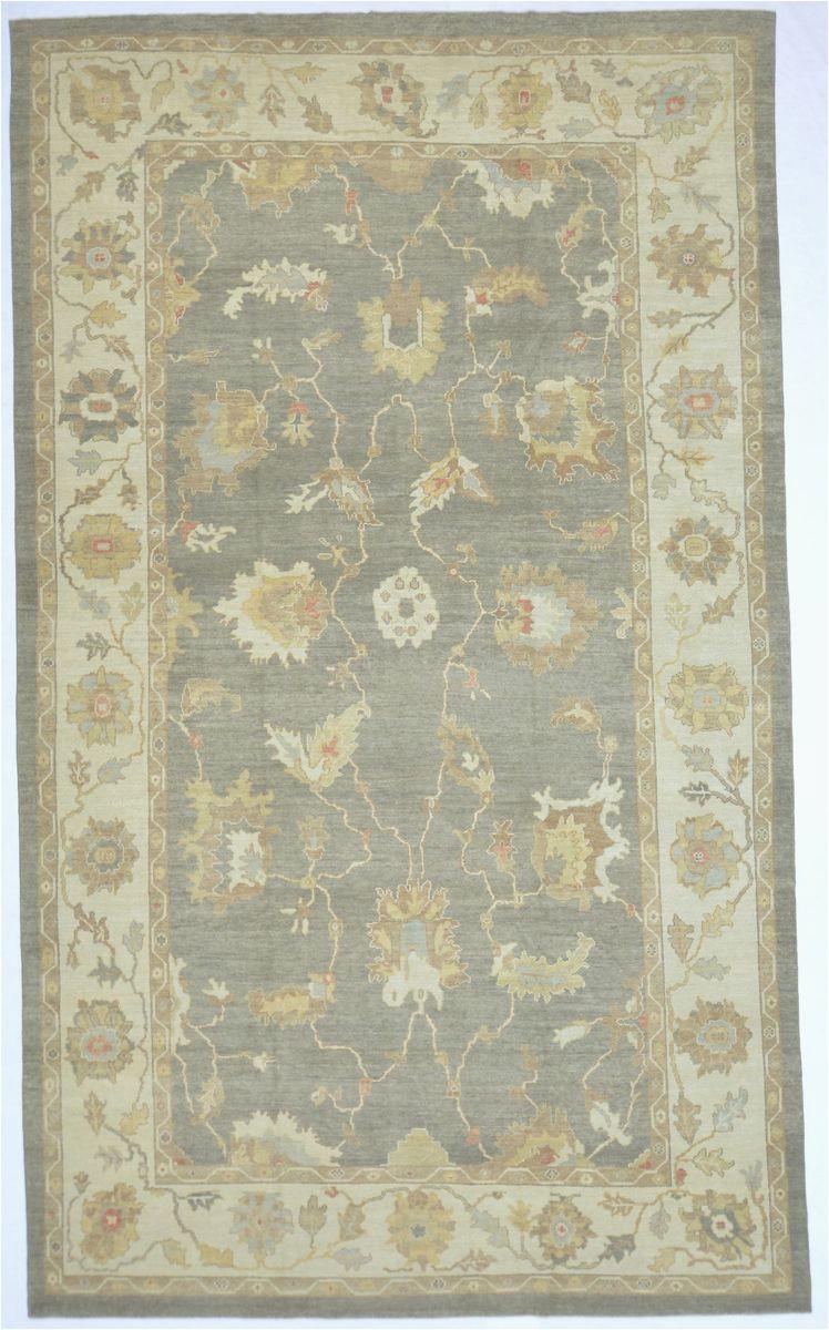 11x18 gray modern oushak area rug
