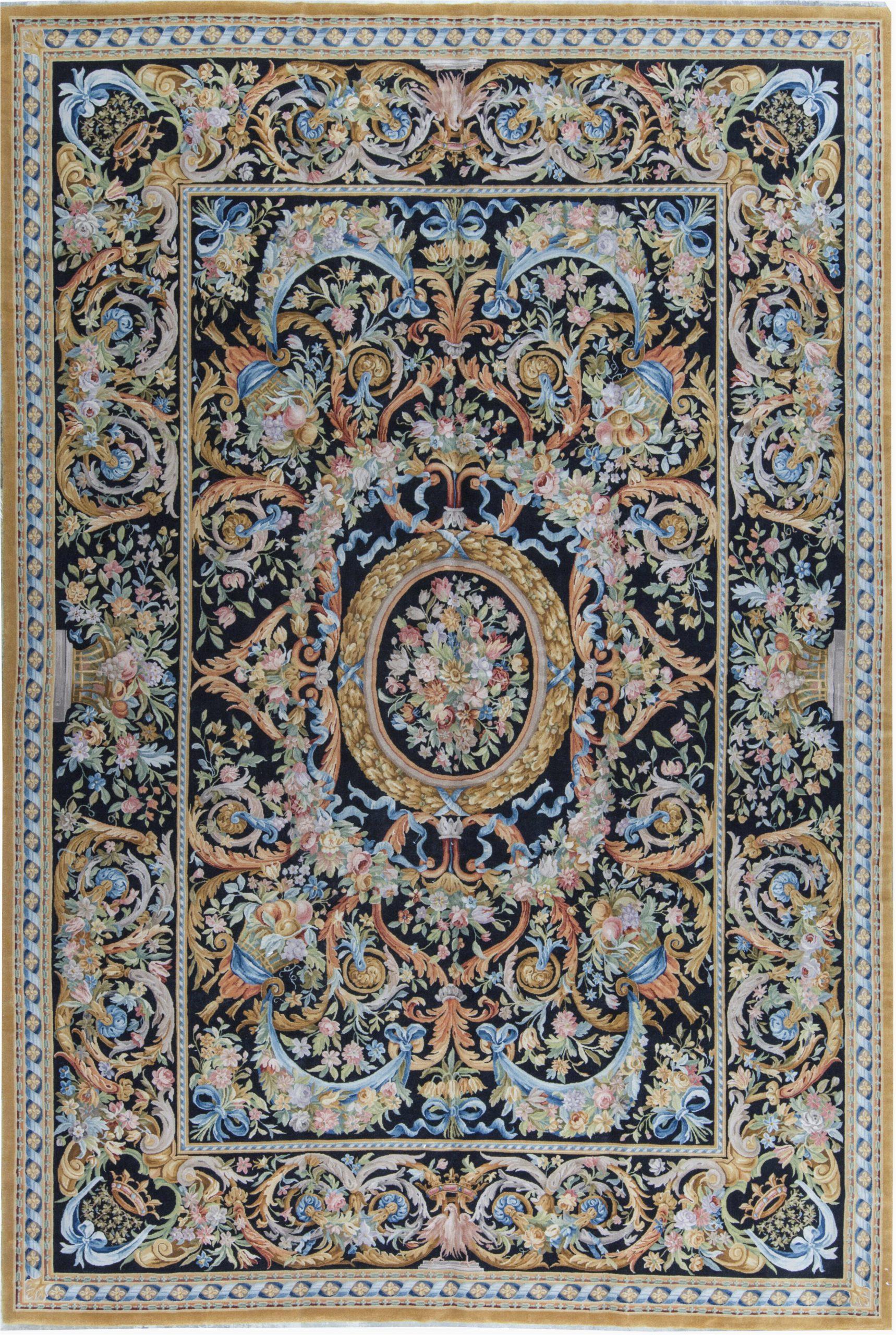 bokara rug co inc one of a kind savonnerie hand knotted blueorange 12 x 138 wool area rug abib7791