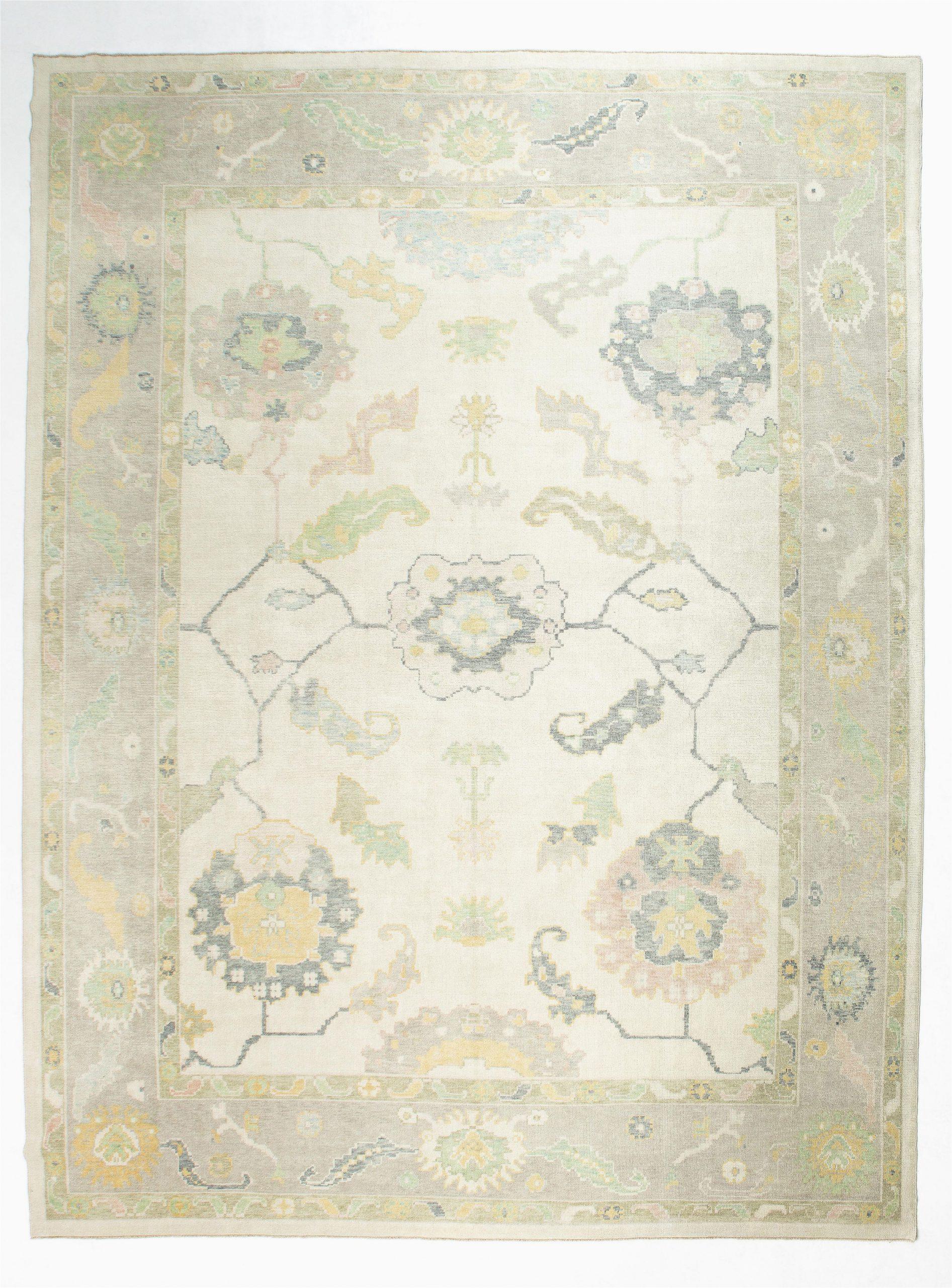 12x16 ivory white modern oushak area rug 1