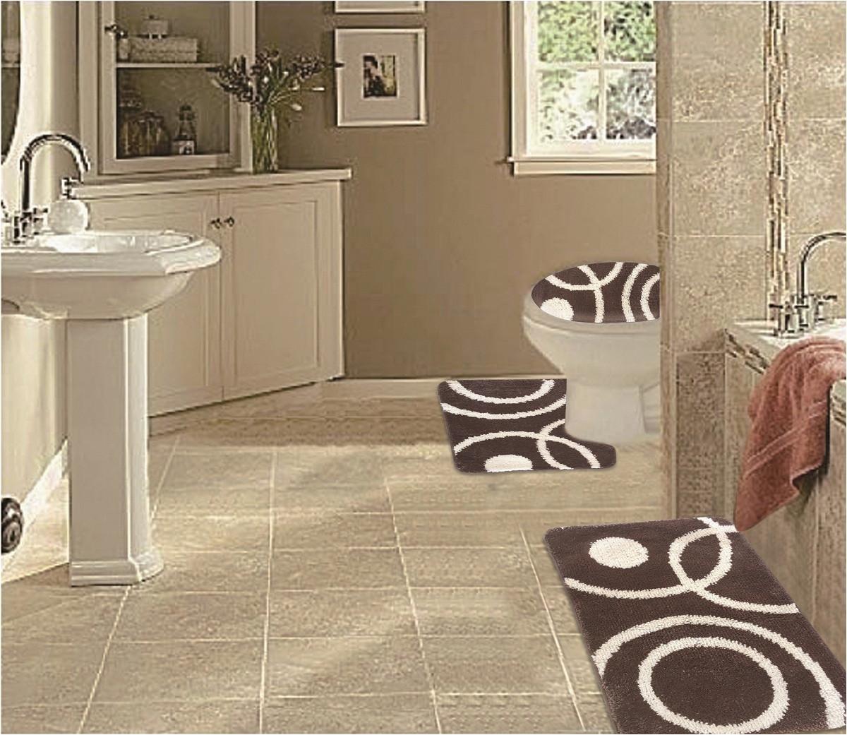 3 Piece Rug Set Bathroom Wpm 3 Piece Bath Rug Set Circle Pattern Bathroom Rug