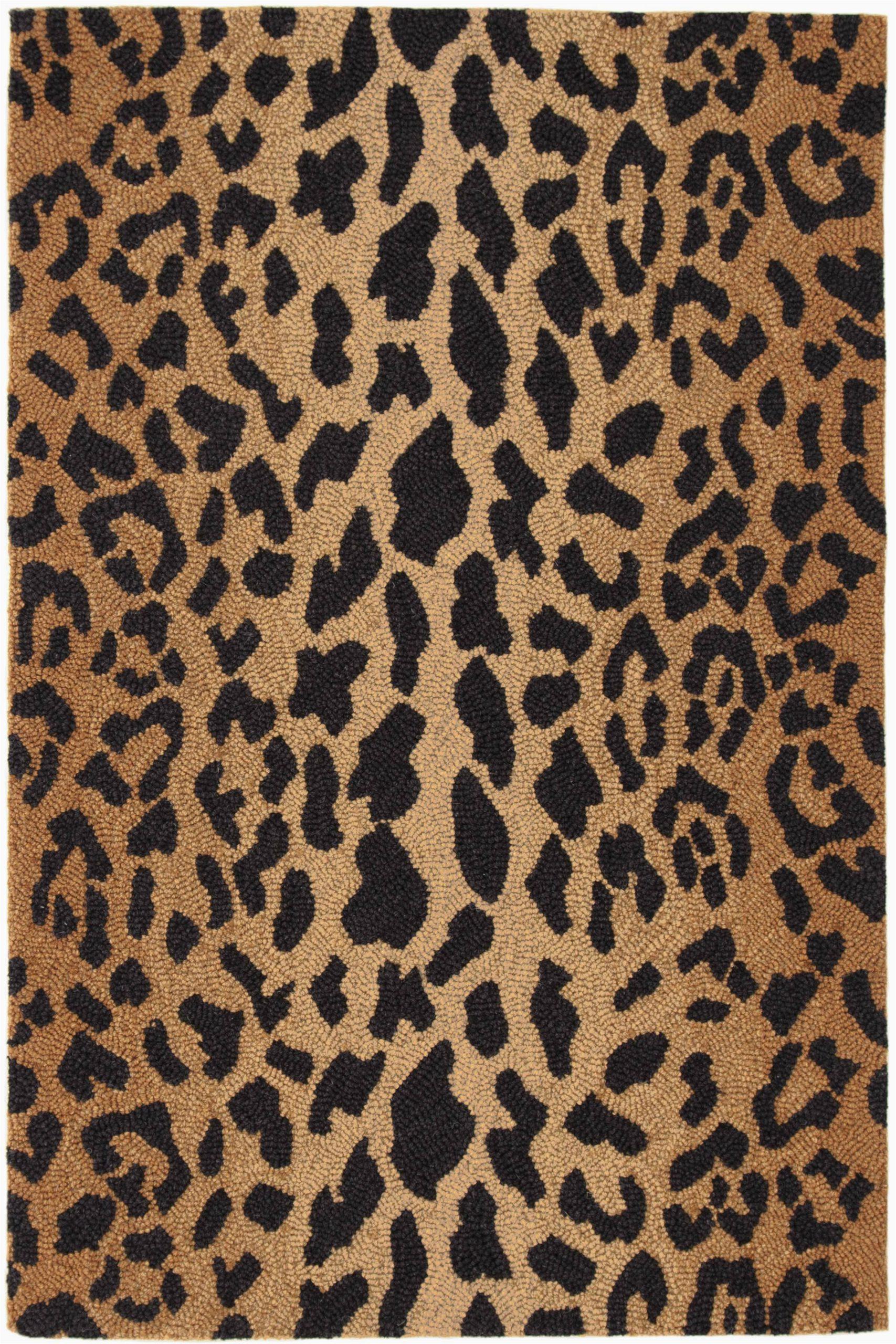 leopard animal print hand hooked wool brownblack area rug