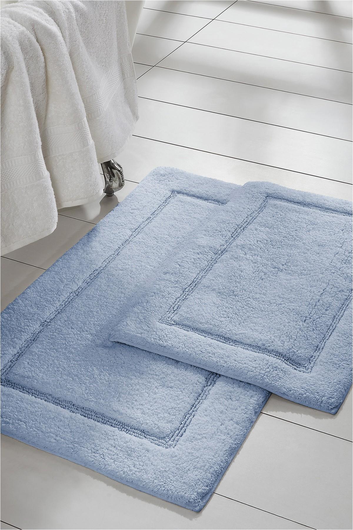 Baby Blue Bath Rug Modern Threads Light Blue solid Loop Non Slip Bath Mat 2 Piece Set