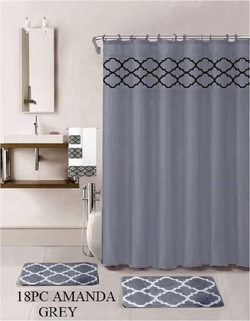 Bath Rug and towel Sets 18 Piece Bath Rug Set Choose From Taupe Teal Blue Sage Green Burgundy Holiday Red Geometric Desin Print Bathroom Rugs Shower Curtain Rings and