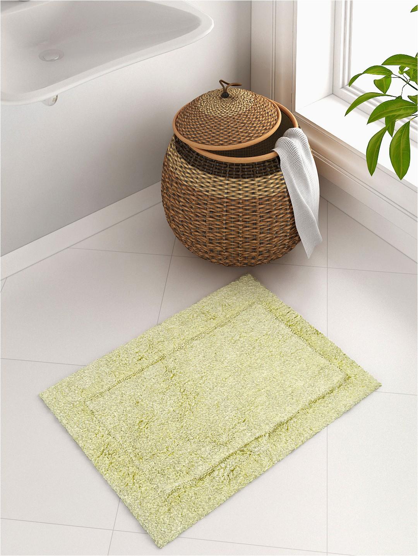 SPACES Lime Green Rectangular Hygro Cotton Bath Rug 1