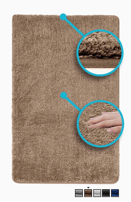 luxe bath mat bath rug non slip backing microfiber microdry bath mat 19 5 x 31 5 in brown