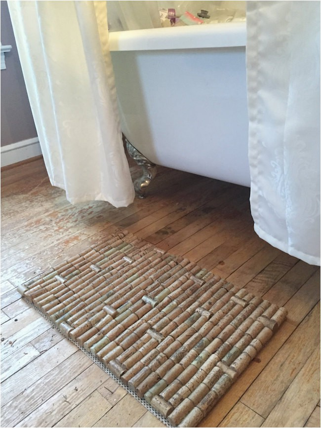 Wine cork bath mat with a subtle pattern