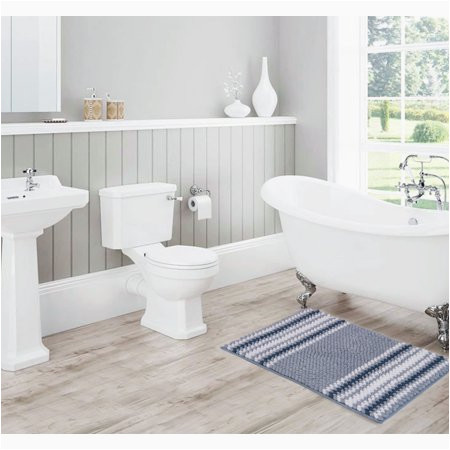Blue and Gray Bathroom Rugs Olivia Gray Irvine Striped Ombre Chenille 20 X 32 In Bath
