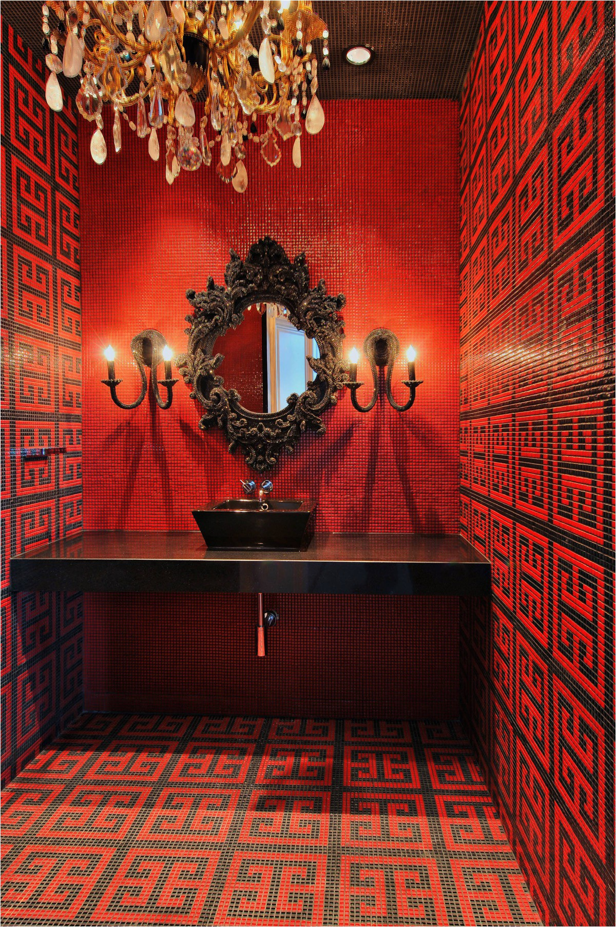 black and red bathroom