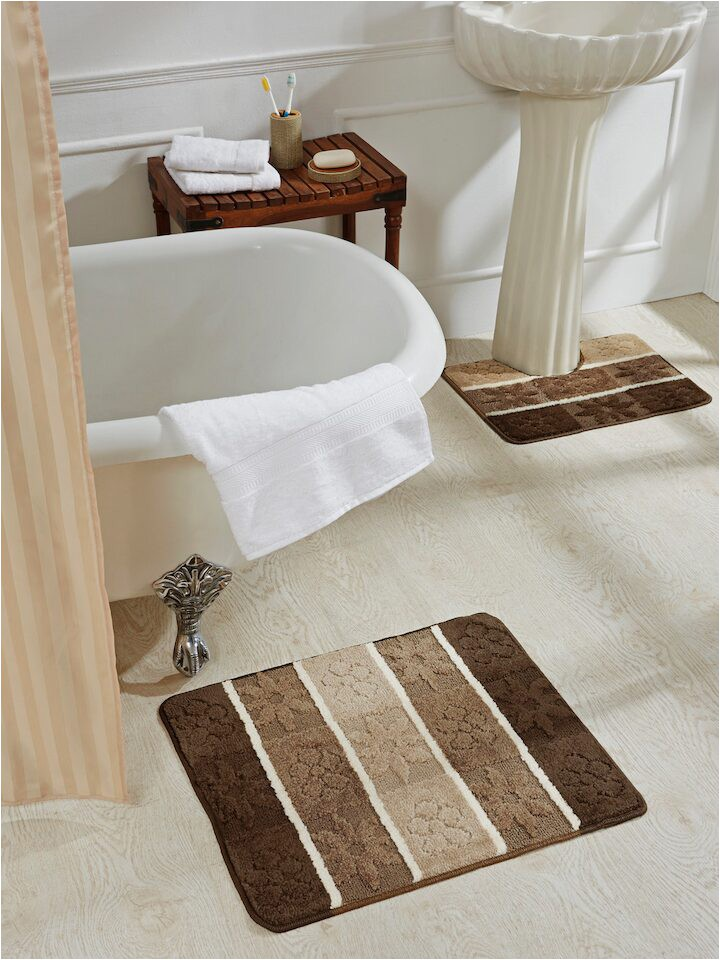 Obsession Brown Beige Set 2 Polyester Rectangular Bath Rugs 1