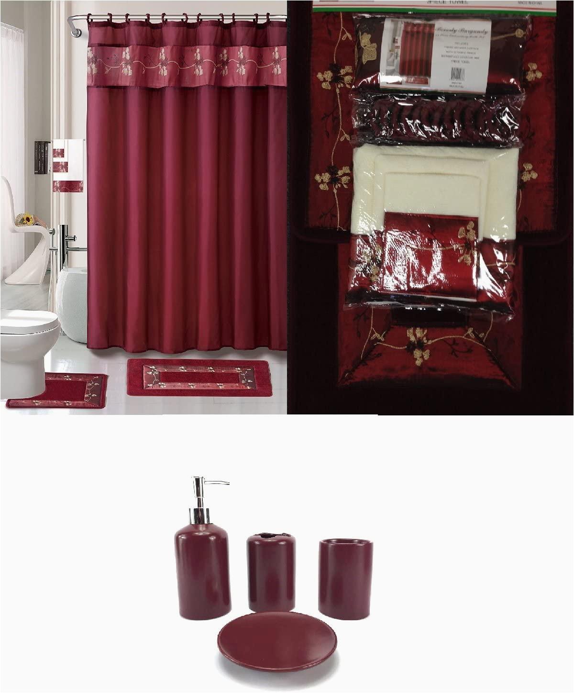 Burgundy Bathroom Rug Set 22 Piece Bath Accessory Set Burgundy Red Bath Rug Set Shower Curtain & Accessories