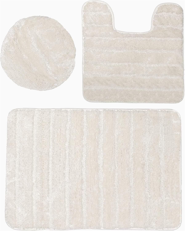 Cream Bathroom Rug Set Baltic Linen Bellados Luxury Bath Rug 1 Mat 1 Contour 1 Universal toilet Set Lid Cover Cream 3 Piece
