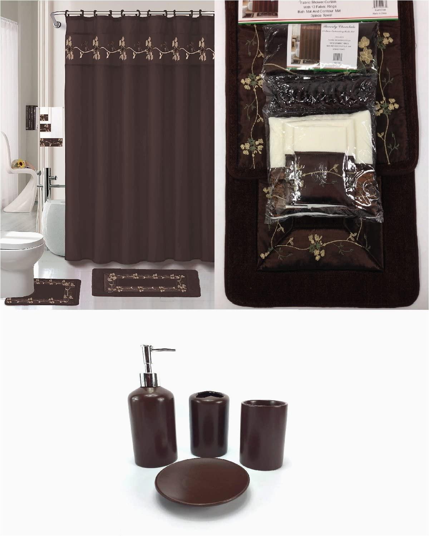 Dark Brown Bathroom Rug Sets 22 Piece Bath Accessory Set Beverly Chocolate Brown Bathroom Rug Set Shower Curtain & Accessories