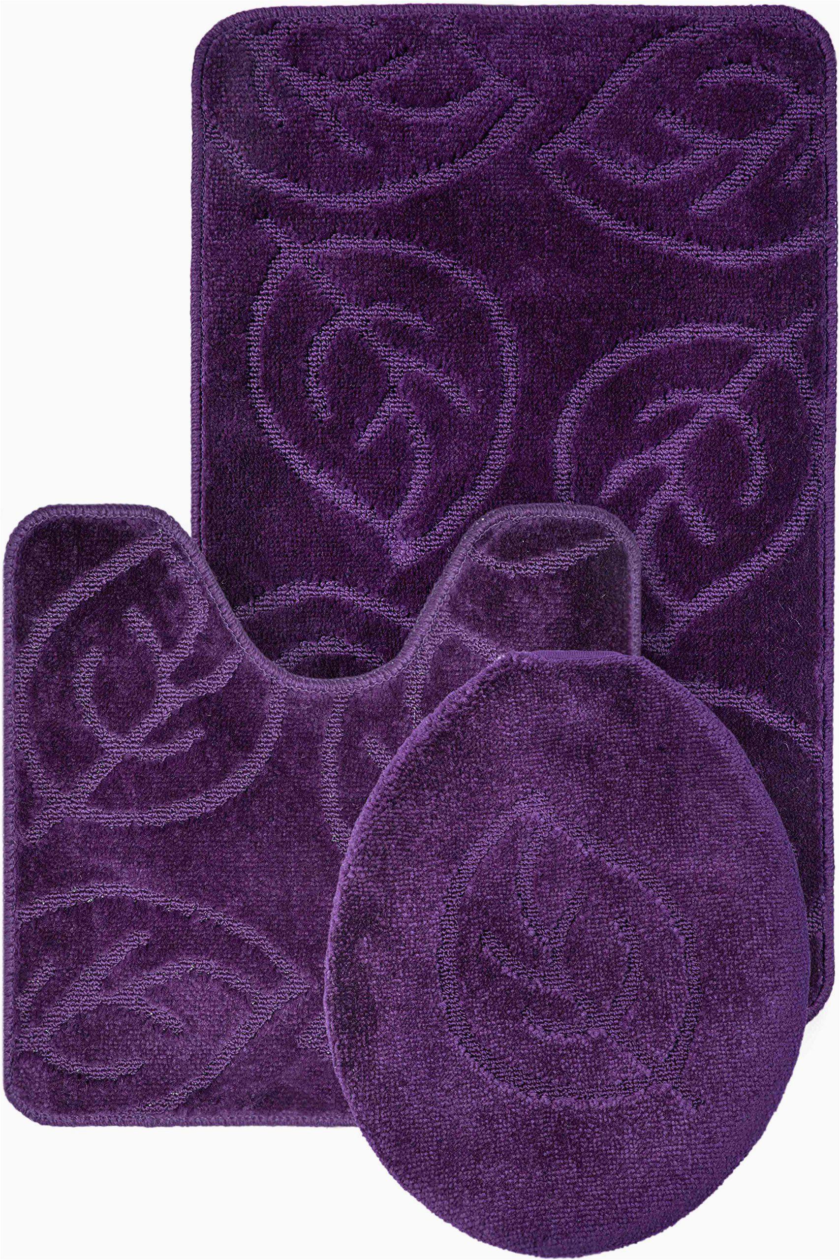 Dark Purple Bathroom Rug Set Everdayspecial Purple Bath Set Leaf Pattern Bathroom Rug