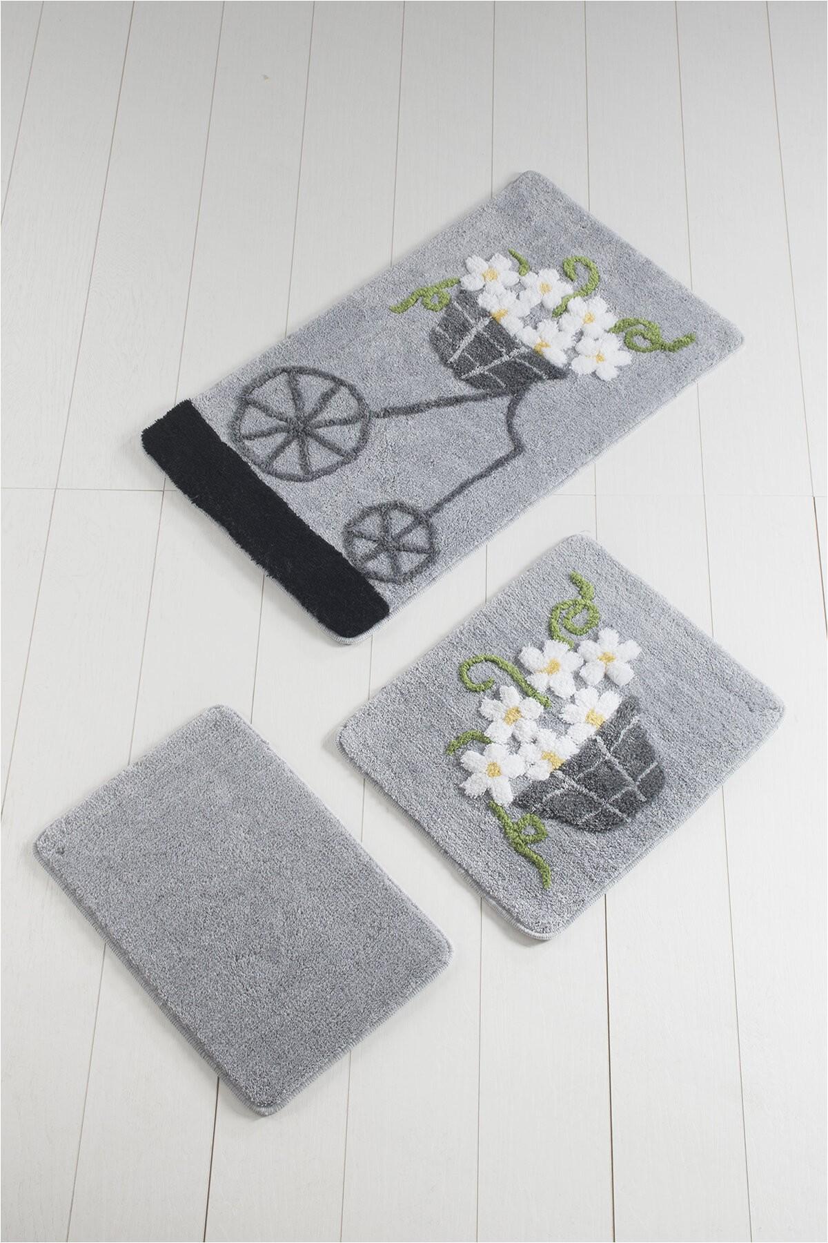 delton rectangle non slip floral piece bath rug set