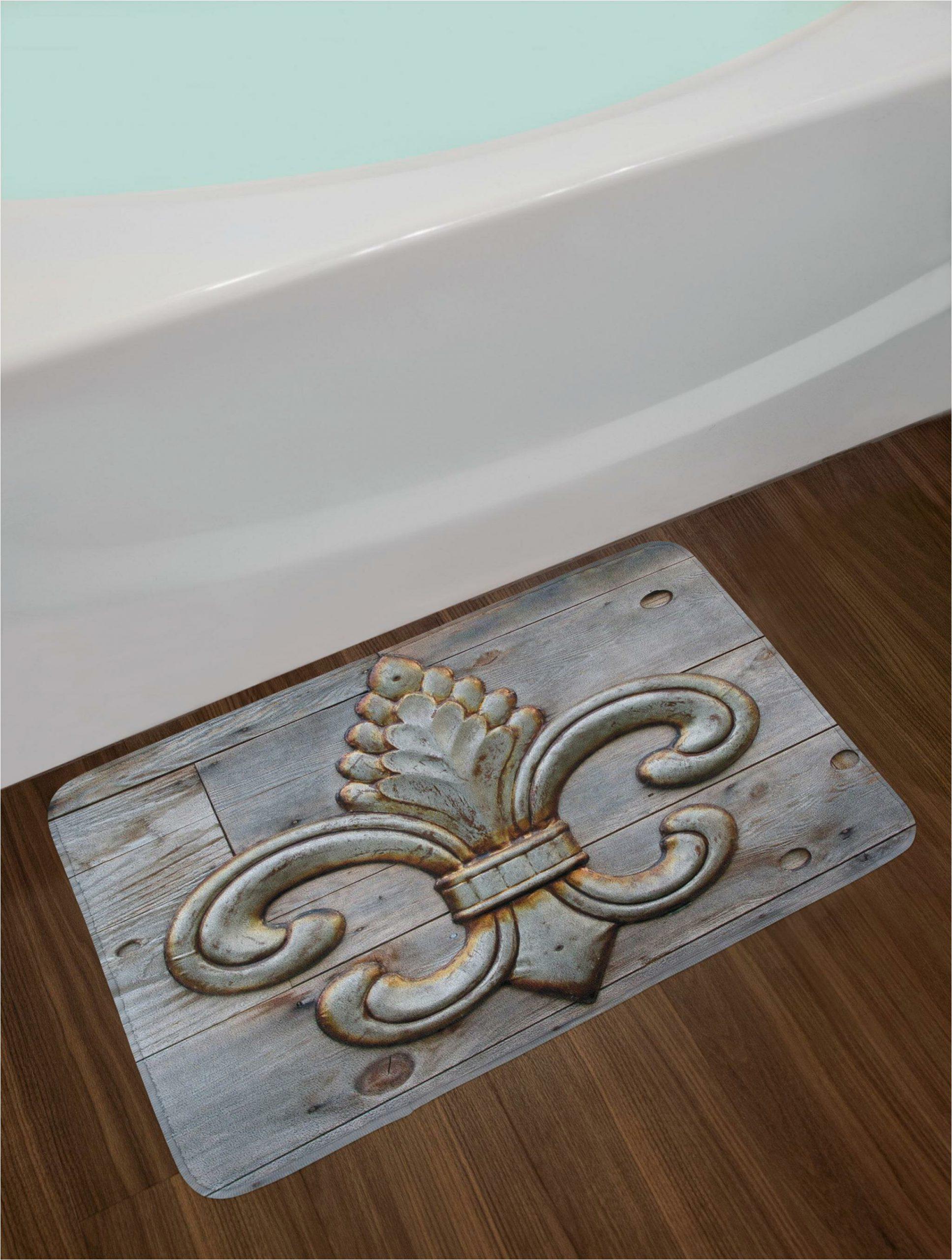 fleur de lis bath rug