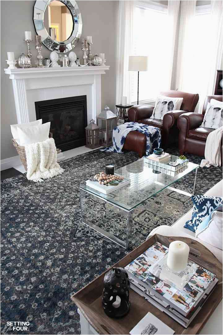 gray living room blue accents