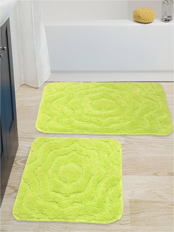 c1bc11a4 0e9d 4b0a b5e5 d e4d Saral Home Set of 2 Green Bath Rug Contour 1